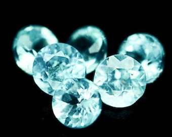APATITE (21011) -  PARCEL (10 Stones) Small! Bright Blue / Green Apatite 1.7 mm Round - Faceted - Clean!