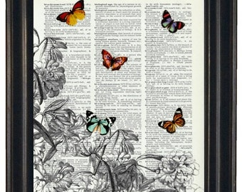 BOGO 1/2 OFF  Dictionary Art Print Flowers and Butterflies A HHP Original with Signature Butterflies Original Design Wall Art Print