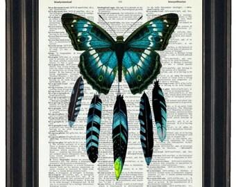 BOGO SALE Butterfly Art Butterfly Print Dictionary Art Butterfly Dream Catcher A HHP Original Concept and Design Boho Print Orignianl Art