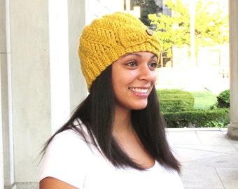 Crochet Spiral Hat, Crochet Cap, Crochet Beanie, Color is Mustard