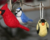 ONE Needle Felted Bird Ornament - Choose Black-Capped Chickadee, Finch, Blue Jay, Robin, or Cardinal