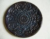 Very Dark Pottery Doily Dish or Spoon Rest
