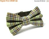 ON SALE Green and Brown Plaid Dog Bowtie Collar