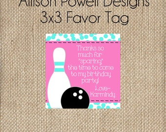 Girls Bowling Birthday Party Favor Tag