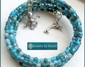 Teal Blue Beach Ocean Bracelet with Dolphin Charm, Her Beach Bracelet, Octopus Charm, Her Blue Bracelet, Statement Bracelet