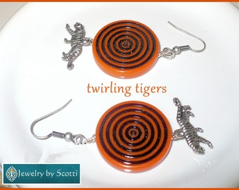 Clemson Tigers Inspired Orange Silver Tiger Charm Earrings, Year of the Tiger, for Clemson Fans, Unique Statement Earrings, Tiger Earrings