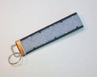 Key fob Keyfob gray blue crosshatch on navy blue fabric wristlet  Key chain fabric lanyard
