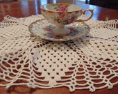 Sweet Hand Crocheted Doily, Round, Tiny Squares with Open Web Edges