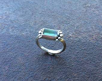 Paprok Tourmaline & Sterling Silver Ring - Tourmaline Crystal Ring - Raw Crystal Ring - Crystal Ring - Size 6.5