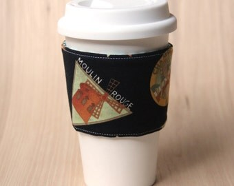 Reversible Coffee Cup Sleeve - French Coffee Cozy - Ready to Ship
