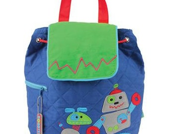 SHIPS NEXT DAY--Personalized Monogrammed --New Pattern-- Stephen Joseph Kid Quilted Robot  Backpack--Free Monogramming--