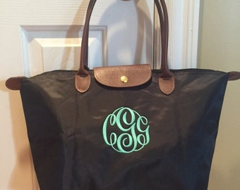SHIPS NEXT DAY -- Personalized Monogrammed Designer Inspired Longchamp Black tote bag purse --Free Monogramming