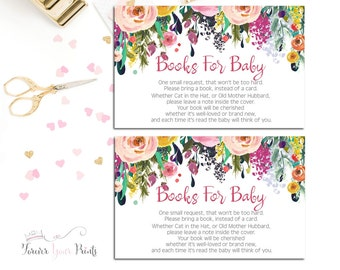 Baby Shower Insert Cards, Book Request Insert Cards, Books For Baby, Watercolor Baby Shower, Shower Invitation Enclosure, Bring A Book Card
