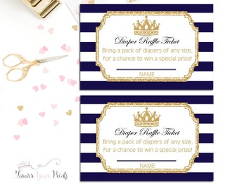 Boys Baby Shower Diaper Raffle Ticket, Prince Baby Shower Insert Cards, Little Prince Baby Shower, Navy and Gold, Gold Glitter, Shower Games