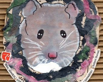 The Field Mouse (Original Mixed Media Etegami) Inspired by Robert Burns' Poem