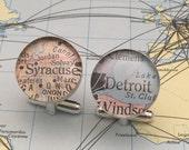 Custom Sterling Silver Silver (.925) Map Cufflinks