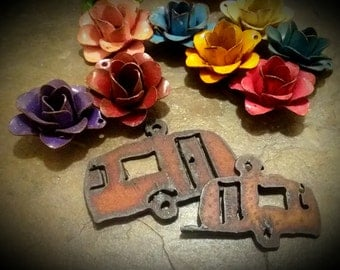 Campter, Rusty, Charm, Mini Charm, Rusty Cowgirls, Rusted Iron Pendant, Priced per Piece