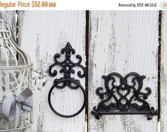 Oil Rubbed Bronze Combo Toilet Tissue Holder and Towel Ring / French Cottage / Old World  / Shabby Chic Bathroom / Oil Rubbed Bronze