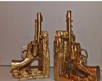 On Sale Gold Gun Book Ends / Modern Decor / Office / Library / Book Ends / Bookend