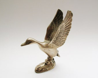 Vintage Brass Goose, Brass Mounted Bird, Bird Figurine, Farmhouse Chic