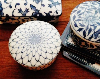 ON RESERVE...Vintage Blue and White Chinoiserie Trinket Box, Takahashi Porcelain Box, Candy Box