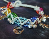 Lsten to the Music Play- Grateful Dead inspired hemp jingle anklet with dancing bear charms,hippie, deadhead,ratdog music festivals, stealie