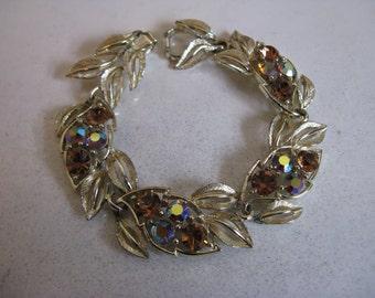 Vintage 1960s Lisner Bracelet Gold Tone Topaz Rhinestone 60s Bracelet