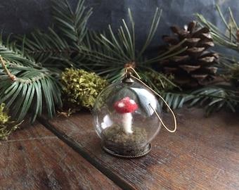 Mushroom terrarium ornament, Globe, Red, miniature felt mushroom ornament, red amanita, gifts for hikers, pnw gifts, mini wool terrarium