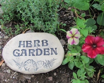 Herb Garden marker. Natural rustic garden decor. Terracotta herb harden sign. Glazed and weather proof. Outdoor ceramic herb garden art