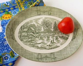 Vintage Serving Platter. Currier and Ives Green by Scio. Plows and Harness Design. Dining and Serving Tableware. Rustic Farmhouse Chic.