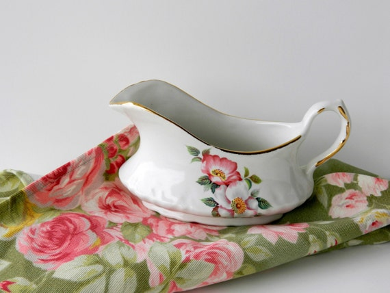 Vintage Gravy Boat. Floral Creamer. Serving Pitcher. House of Webster Ceramics Briar Rose. Replacement China. Shabby Cottage Style.