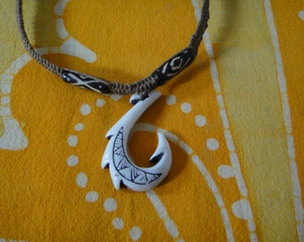 Hawaiian Tribal Fish Hook African Batik Bone Bead Hemp Necklace