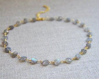 Labradorite Necklace, Labradorite Choker, Choker, Choker Necklace, Silver Labradorite Necklace, Gold Labradorite Necklace, Bohemian Choker
