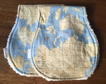 Baby Boy Burp Cloth Set, Map Print, Baby Burp Cloths, Cotton Chenille Burp Cloth Set, Baby Boy Gift Set
