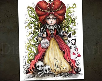 Whimsical Queen of Hearts Print -Gothic Fantasy -Alice in Wonderland Art
