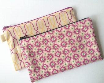 Two Fabric Pouches. Iron Gates and Floral Tiles. Makeup pouch, Pencil case. Plum, Purple.