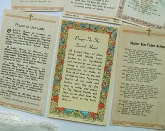 Vintage Prayer Cards Holy Cards Catholic Religious Litany Mother Mary Jesus Christ Lord Sacred Heart Jesus Heaven Poems Prayer Book Ephemera