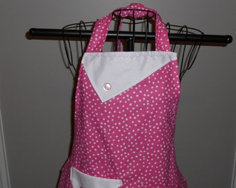 Pink and White Polka Dots Women's Apron