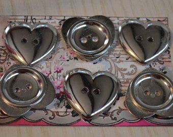 """7 Large Silver Heart Buttons – 1"""" in Size Two Holes – Silver Tone Plastic 1 inch Heart Buttons Bright and Shiny"""