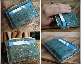Cork leather business card holder - card holder - mens wallet - small wallet - cork wallet - teal cork