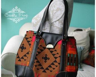 Harriet bag - shoulder bag - tote bag - expandable bag - aztec bag - navajo bag - black leather bag