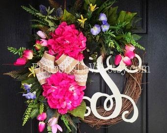Summer Wreaths for Front Door, Southern Door Wreath, Summer Door Wreath, Front door wreath, Door Wreath, Hydrangea Wreath