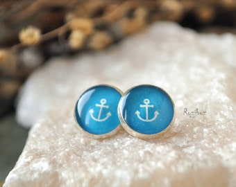 Blue anchor small ear studs tiny jewelry - sea jewelry, turquoise earrings post, print, gifts idea for her, girlfriend gift - ready to ship