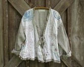 linen jacket one of a kind natural and white stripe linen and vintage linens with ruffles ready to ship