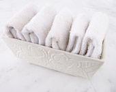 Vintage ivory planter rectangular cream white leaves box