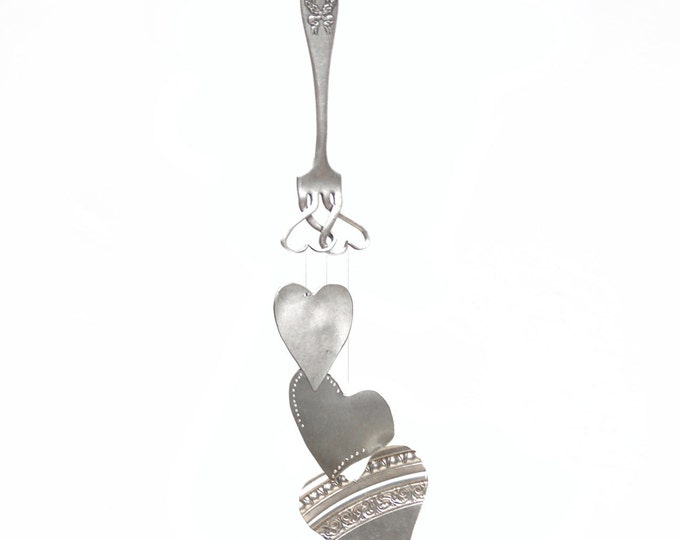 Silverware Heart Windchime, Silverplated Flatware, Recycled Wind Chime, Metal Yard Art, Girls Room Mobile, Upcycled Silver Heart Wind Chime