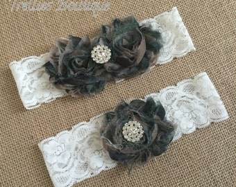 Camouflage Ivory Lace Rhinestone Pearl Bridal Garter Set, Wedding Garter,  White, Ivory, Wedding, Headband