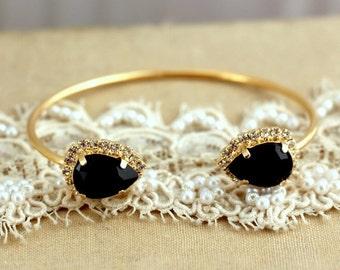Cuff bracelet Black and Gold Swarovski Rhinestone, High fashion,Bridal jewelry - 2 micron extra thick 14 k Gold Plated Swarovski Bracelet.