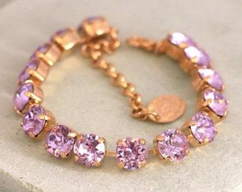 Purple Bracelet,Lavender Bracelet,Bridal Crystal Bracelet,Swarovski Lilac Bracelet,Bridesmaids Purple Swarovski Bracelet,Crystal Bracelet