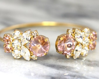 Blush Bracelet,Swarovski Bridal Blush bracelet,Bridal Rose Gold Bracelet,Bangle Gold Bridal Bracelet,Bridesmaids Gifts,Rose Gold Bracelet